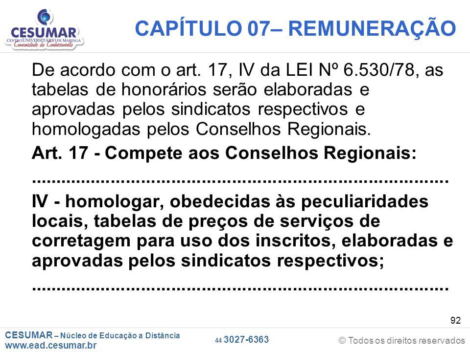 CESUMAR – Núcleo de Educação a Distância www.ead.cesumar.br © Todos os direitos reservados 44 3027-6363 92 CAPÍTULO 07– REMUNERAÇÃO De acordo com o ar