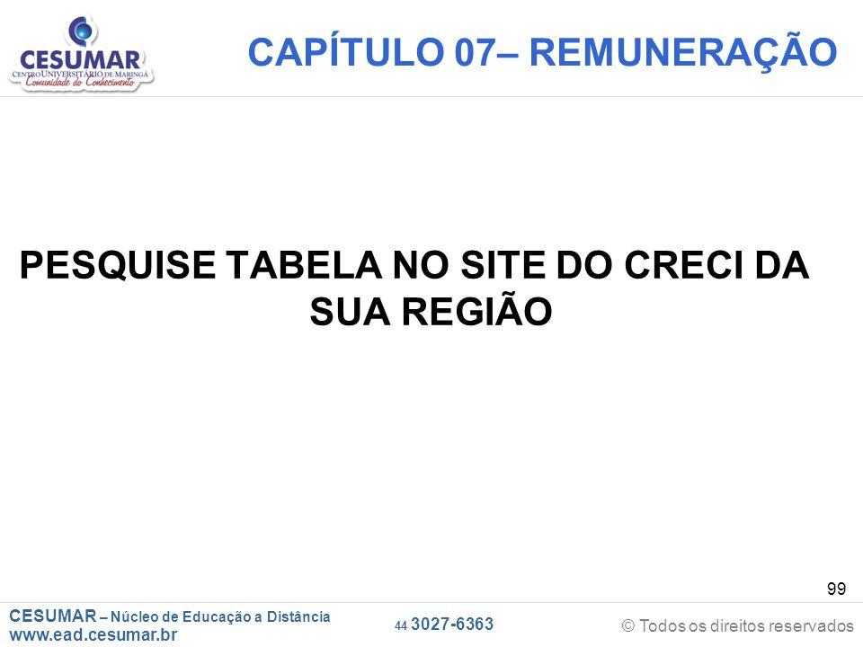 CESUMAR – Núcleo de Educação a Distância www.ead.cesumar.br © Todos os direitos reservados 44 3027-6363 99 CAPÍTULO 07– REMUNERAÇÃO PESQUISE TABELA NO