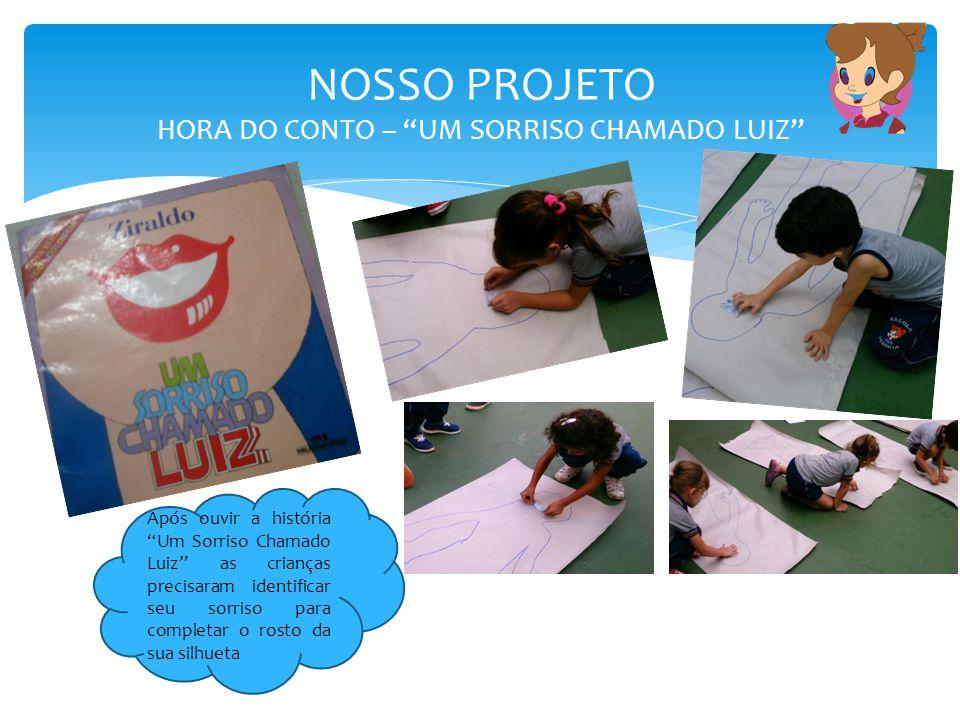 """NOSSO PROJETO HORA DO CONTO – """"UM SORRISO CHAMADO LUIZ"""" Após ouvir a história """"Um Sorriso Chamado Luiz"""" as crianças precisaram identificar seu sorriso"""