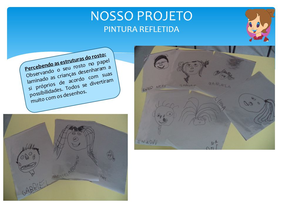 NOSSO PROJETO PINTURA REFLETIDA Percebendo as estruturas do rosto: Observando o seu rosto no papel laminado as crianças desenharam a si próprios de ac