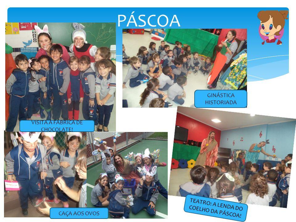 PÁSCOA CAÇA AOS OVOS VISITA À FABRICA DE CHOCOLATE! GINÁSTICA HISTORIADA TEATRO: A LENDA DO COELHO DA PÁSCOA!