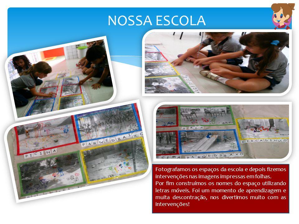 NOSSA ESCOLA Fotografamos os espaços da escola e depois fizemos intervenções nas imagens impressas em folhas. Por fim construímos os nomes do espaço u