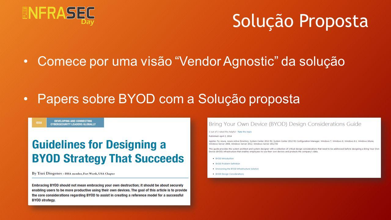 """Solução Proposta Comece por uma visão """"Vendor Agnostic"""" da solução Papers sobre BYOD com a Solução proposta"""