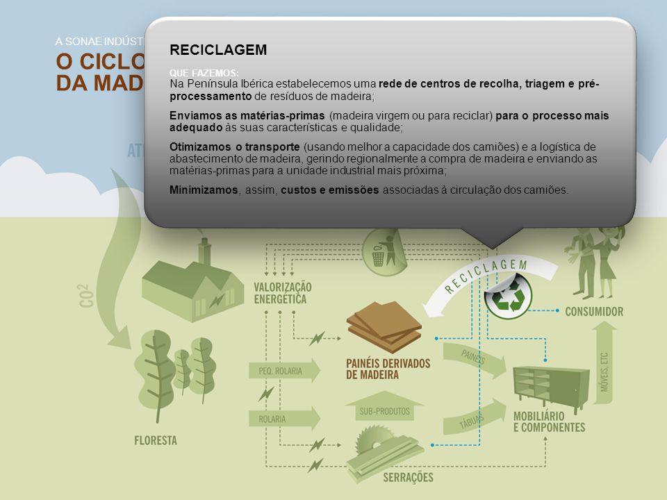 O CICLO DE VIDA DA MADEIRA E DERIVADOS A SONAE INDÚSTRIA E A VERTENTE DA GESTÃO AMBIENTAL RECICLAGEM QUE FAZEMOS: Na Península Ibérica estabelecemos u