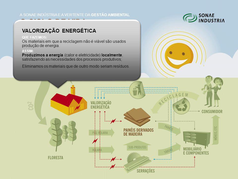 O CICLO DE VIDA DA MADEIRA E DERIVADOS A SONAE INDÚSTRIA E A VERTENTE DA GESTÃO AMBIENTAL VALORIZAÇÃO ENERGÉTICA QUE FAZEMOS: Os materiais em que a re