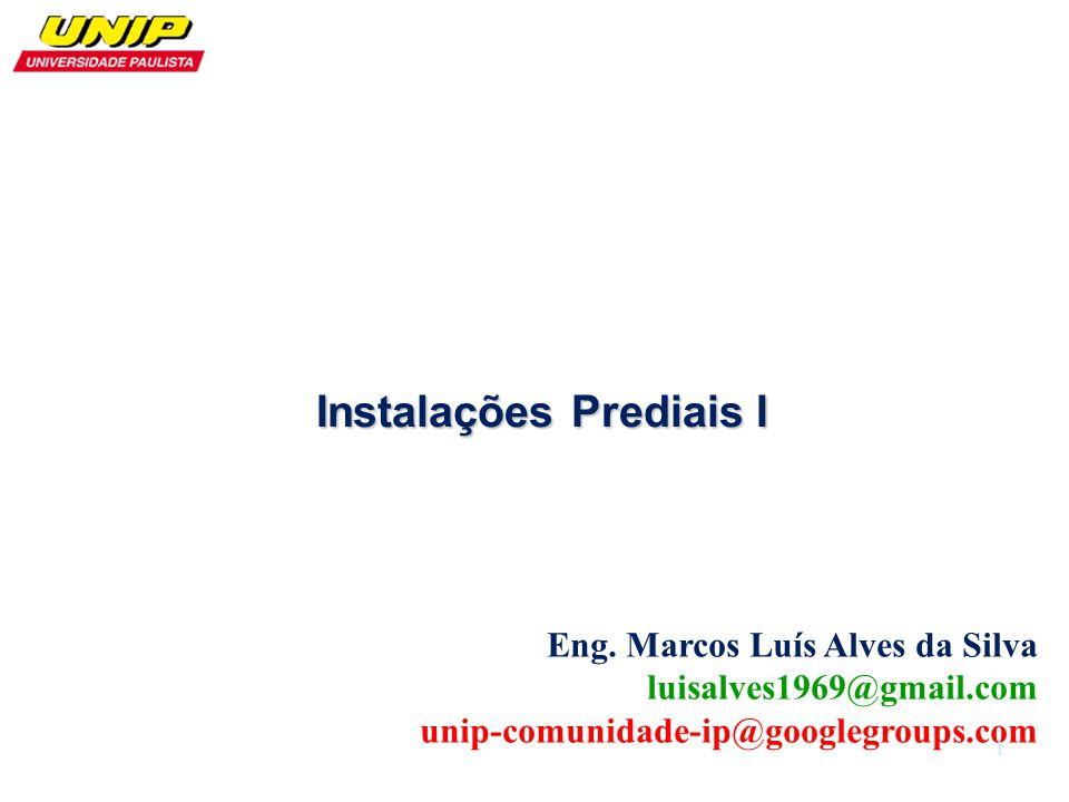 Eng. Marcos Luís Alves da Silva luisalves1969@gmail.com unip-comunidade-ip@googlegroups.com Instalações Prediais I 1
