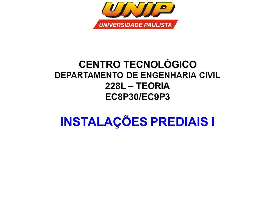 INSTALAÇÕES PREDIAIS I CENTRO TECNOLÓGICO DEPARTAMENTO DE ENGENHARIA CIVIL 228L – TEORIA EC8P30/EC9P3