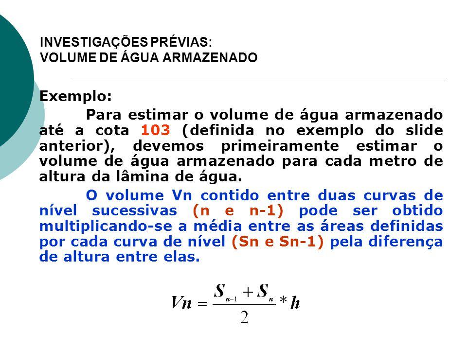 INVESTIGAÇÕES PRÉVIAS: VOLUME DE ÁGUA ARMAZENADO Exemplo: Para estimar o volume de água armazenado até a cota 103 (definida no exemplo do slide anteri
