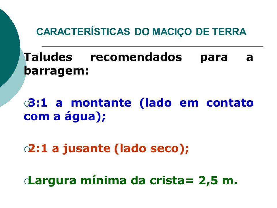 CARACTERÍSTICAS DO MACIÇO DE TERRA Taludes recomendados para a barragem:  3:1 a montante (lado em contato com a água);  2:1 a jusante (lado seco); 