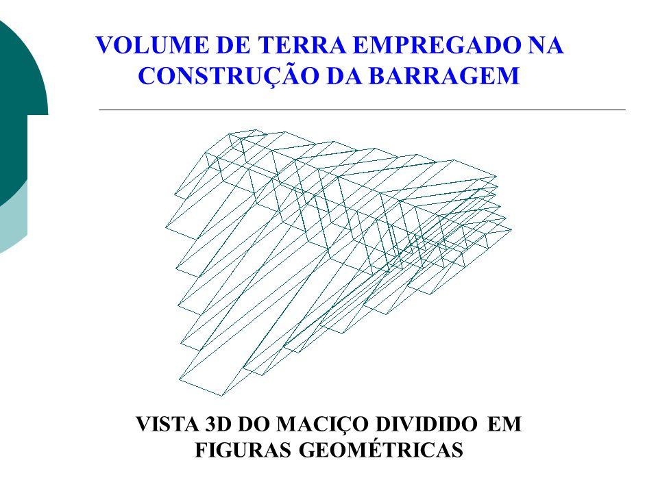 VOLUME DE TERRA EMPREGADO NA CONSTRUÇÃO DA BARRAGEM VISTA 3D DO MACIÇO DIVIDIDO EM FIGURAS GEOMÉTRICAS