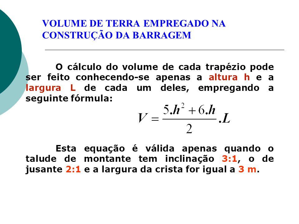 O cálculo do volume de cada trapézio pode ser feito conhecendo-se apenas a altura h e a largura L de cada um deles, empregando a seguinte fórmula: Est