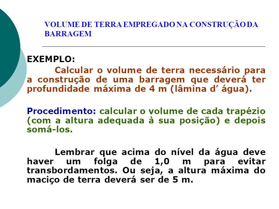 EXEMPLO: Calcular o volume de terra necessário para a construção de uma barragem que deverá ter profundidade máxima de 4 m (lâmina d' água). Procedime