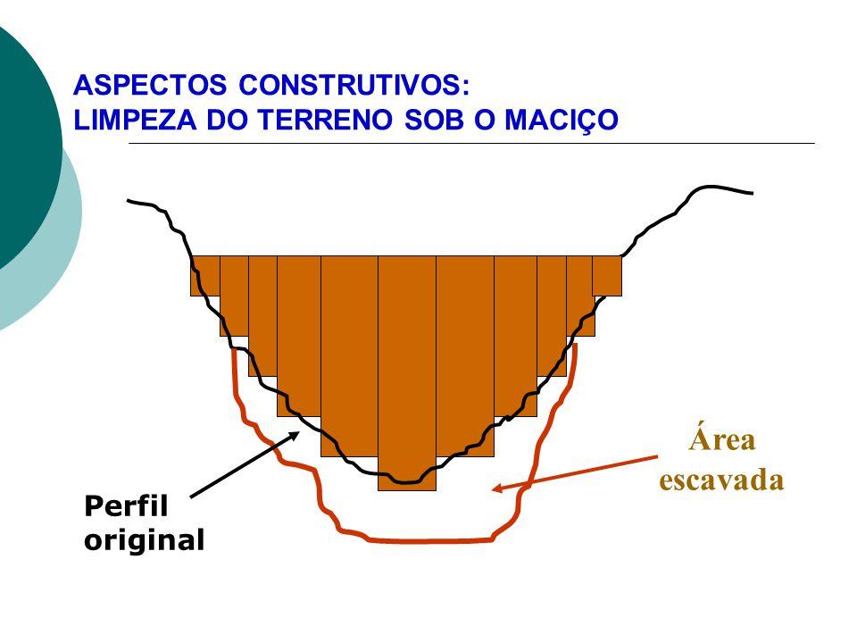 ASPECTOS CONSTRUTIVOS: LIMPEZA DO TERRENO SOB O MACIÇO 10 Área escavada Perfil original