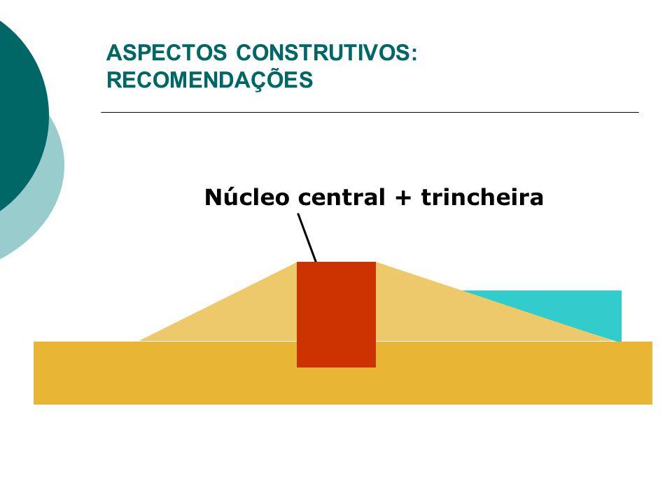ASPECTOS CONSTRUTIVOS: RECOMENDAÇÕES Núcleo central + trincheira