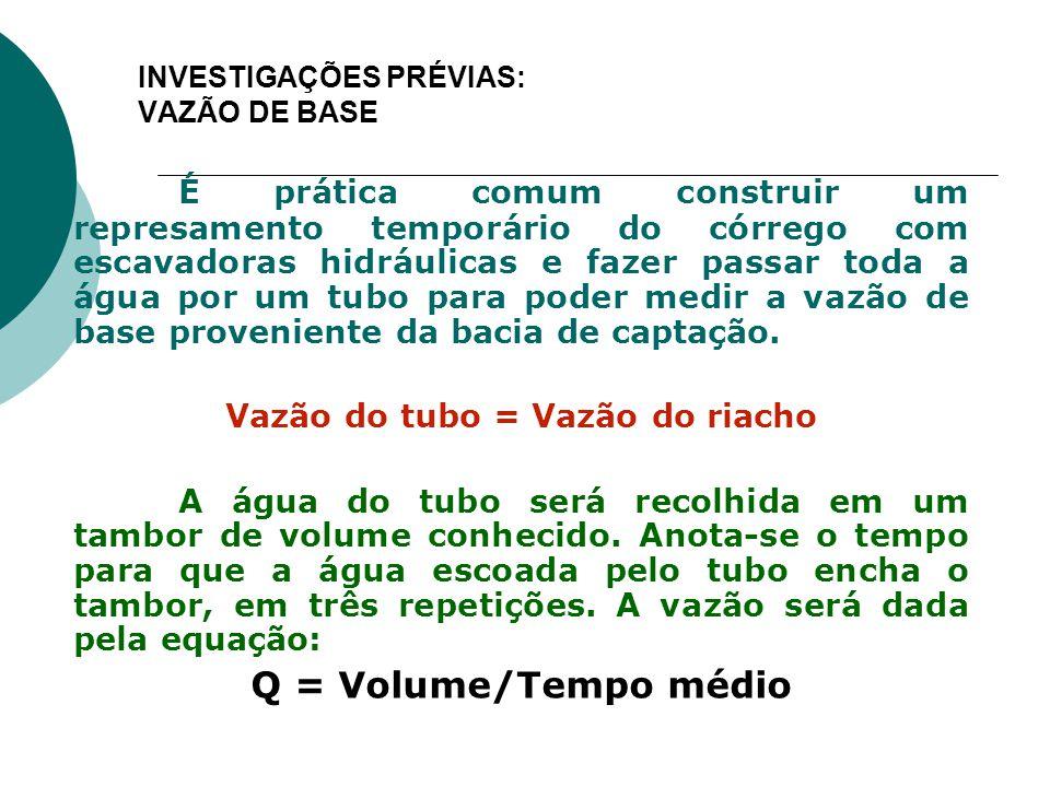 INVESTIGAÇÕES PRÉVIAS: VAZÃO DE BASE É prática comum construir um represamento temporário do córrego com escavadoras hidráulicas e fazer passar toda a