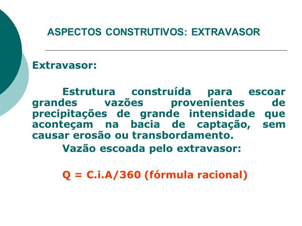 ASPECTOS CONSTRUTIVOS: EXTRAVASOR Extravasor: Estrutura construída para escoar grandes vazões provenientes de precipitações de grande intensidade que