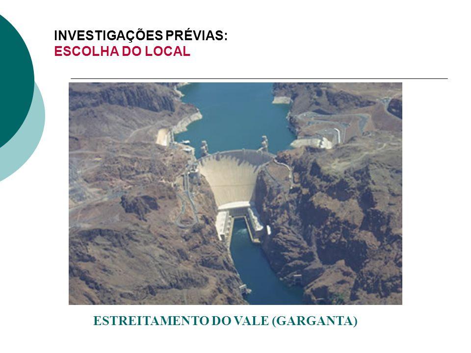 INVESTIGAÇÕES PRÉVIAS: ESCOLHA DO LOCAL ESTREITAMENTO DO VALE (GARGANTA)