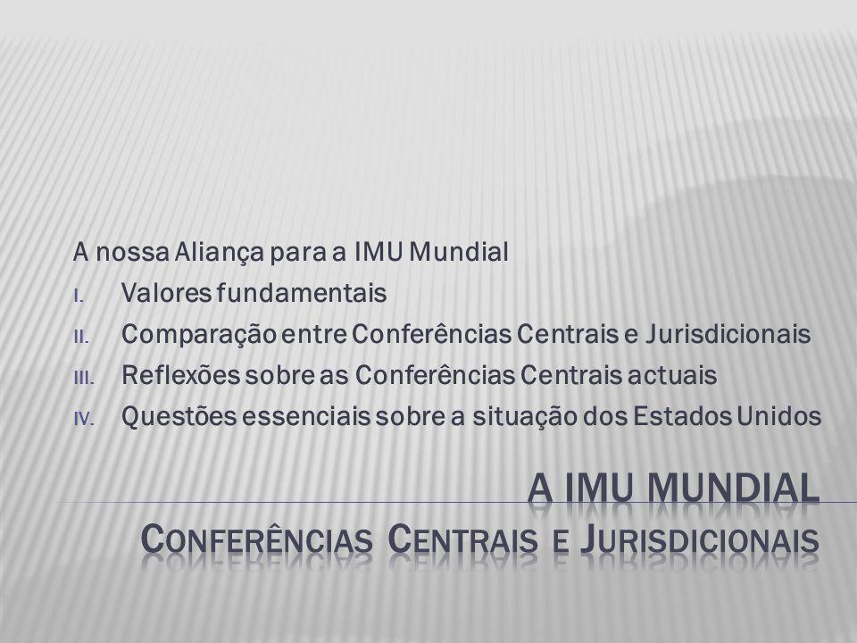 A nossa Aliança para a IMU Mundial I. Valores fundamentais II.
