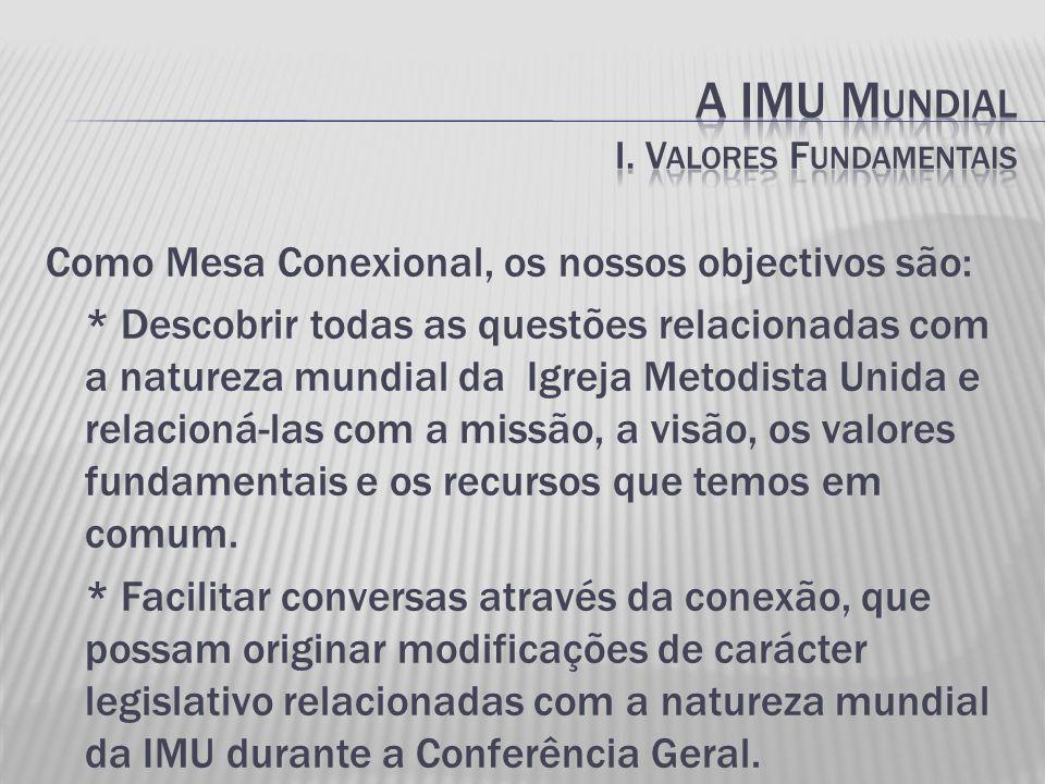 Como Mesa Conexional, os nossos objectivos são: * Descobrir todas as questões relacionadas com a natureza mundial da Igreja Metodista Unida e relacioná-las com a missão, a visão, os valores fundamentais e os recursos que temos em comum.