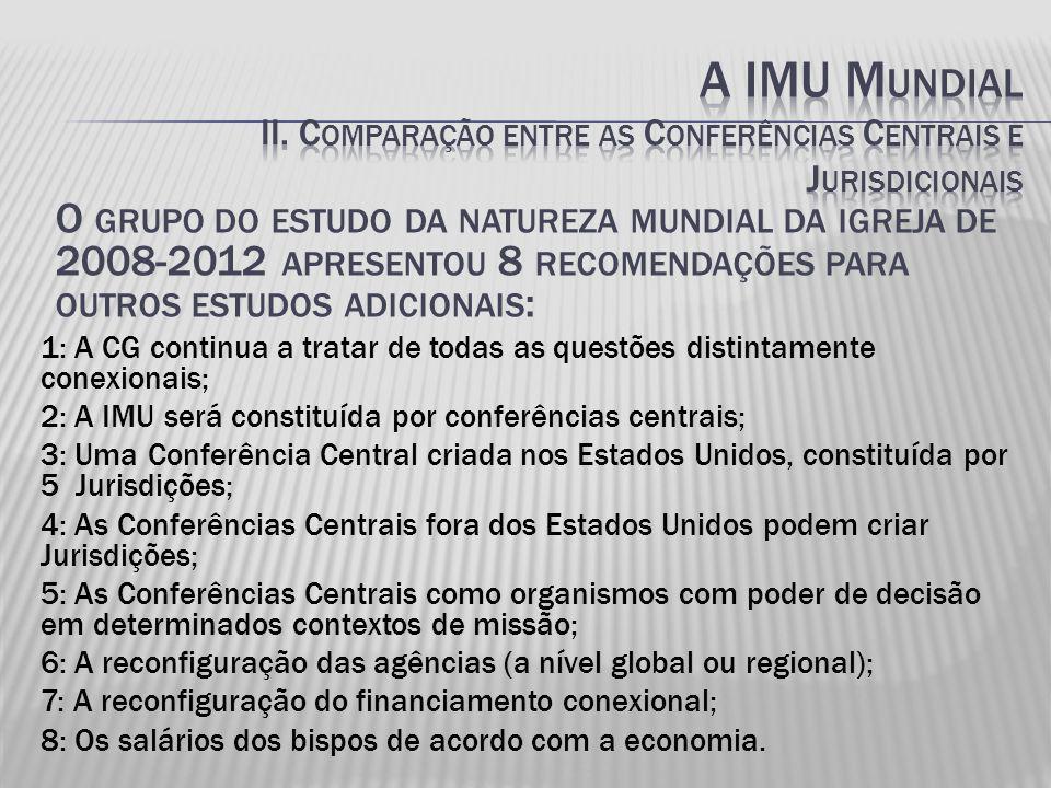 O GRUPO DO ESTUDO DA NATUREZA MUNDIAL DA IGREJA DE 2008-2012 APRESENTOU 8 RECOMENDAÇÕES PARA OUTROS ESTUDOS ADICIONAIS : 1: A CG continua a tratar de todas as questões distintamente conexionais; 2: A IMU será constituída por conferências centrais; 3: Uma Conferência Central criada nos Estados Unidos, constituída por 5 Jurisdições; 4: As Conferências Centrais fora dos Estados Unidos podem criar Jurisdições; 5: As Conferências Centrais como organismos com poder de decisão em determinados contextos de missão; 6: A reconfiguração das agências (a nível global ou regional); 7: A reconfiguração do financiamento conexional; 8: Os salários dos bispos de acordo com a economia.