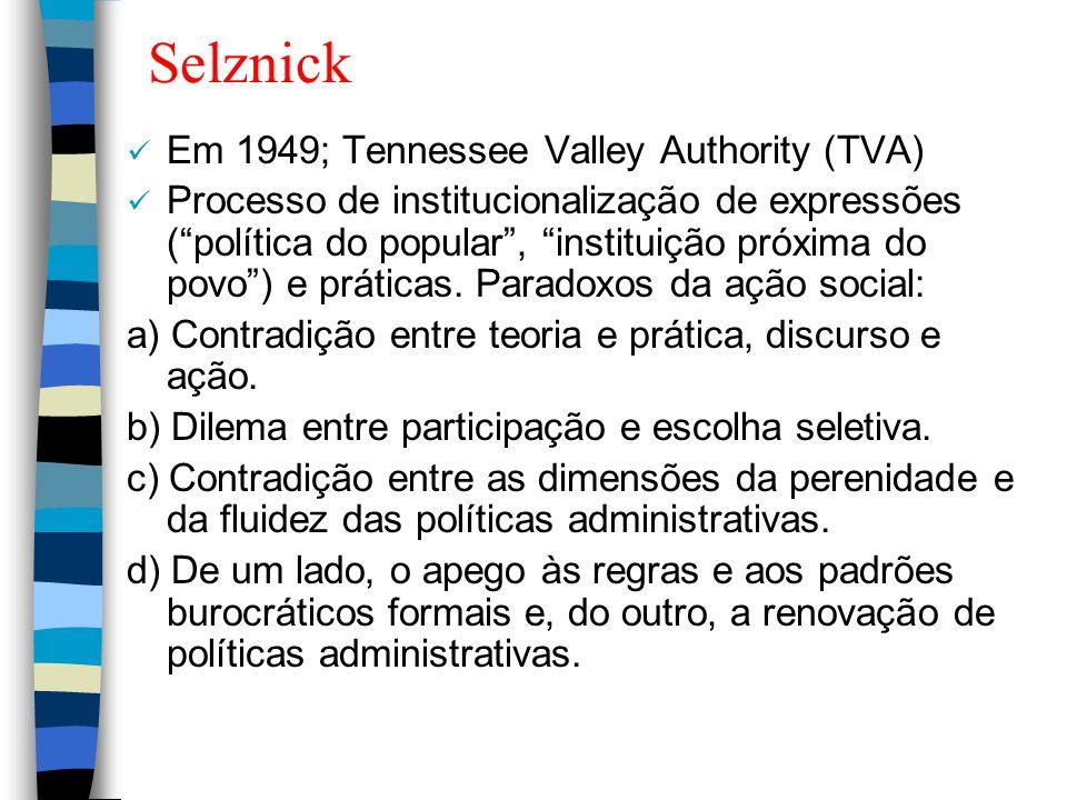 """Selznick Em 1949; Tennessee Valley Authority (TVA) Processo de institucionalização de expressões (""""política do popular"""", """"instituição próxima do povo"""""""