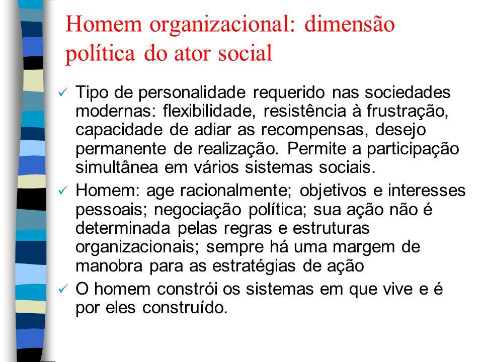 Homem organizacional: dimensão política do ator social Tipo de personalidade requerido nas sociedades modernas: flexibilidade, resistência à frustraçã