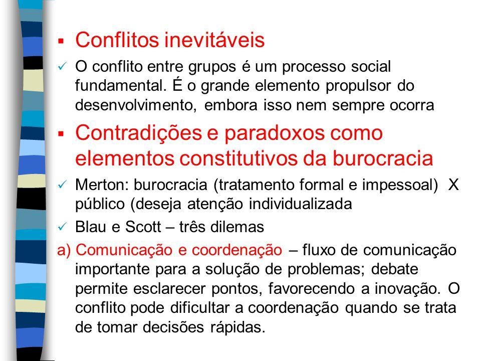  Conflitos inevitáveis O conflito entre grupos é um processo social fundamental. É o grande elemento propulsor do desenvolvimento, embora isso nem se