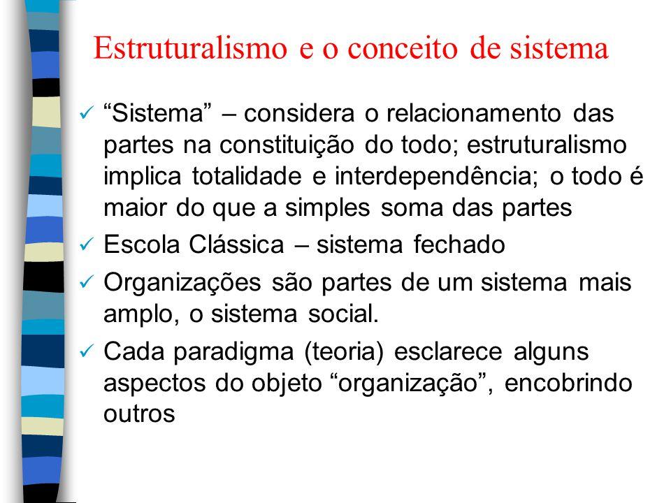 """Estruturalismo e o conceito de sistema """"Sistema"""" – considera o relacionamento das partes na constituição do todo; estruturalismo implica totalidade e"""