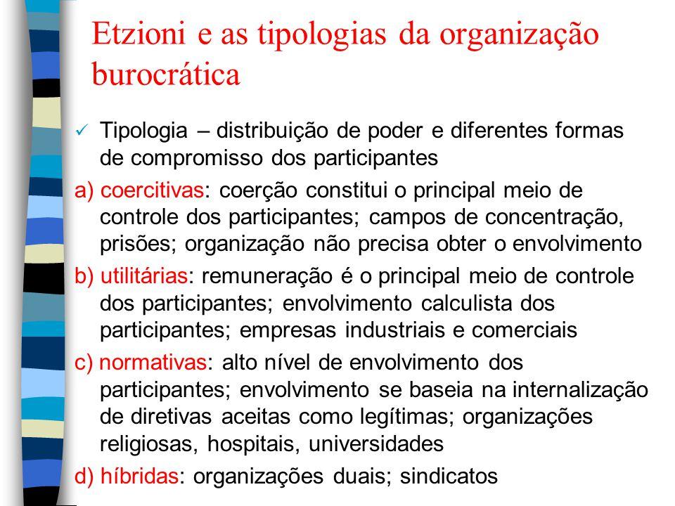 Etzioni e as tipologias da organização burocrática Tipologia – distribuição de poder e diferentes formas de compromisso dos participantes a) coercitiv