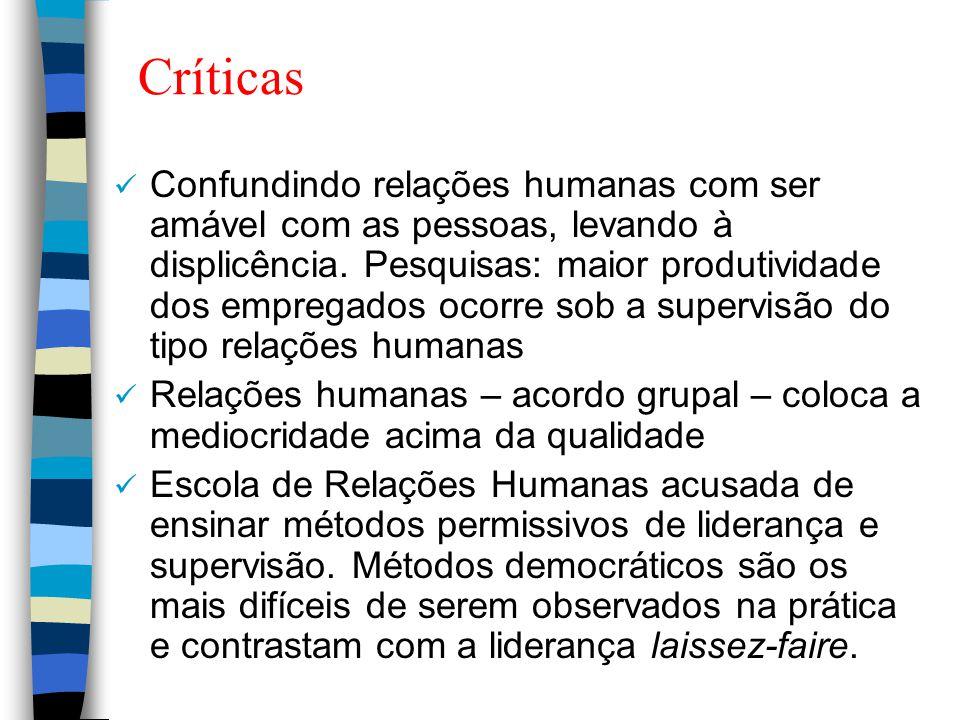 Críticas Confundindo relações humanas com ser amável com as pessoas, levando à displicência. Pesquisas: maior produtividade dos empregados ocorre sob