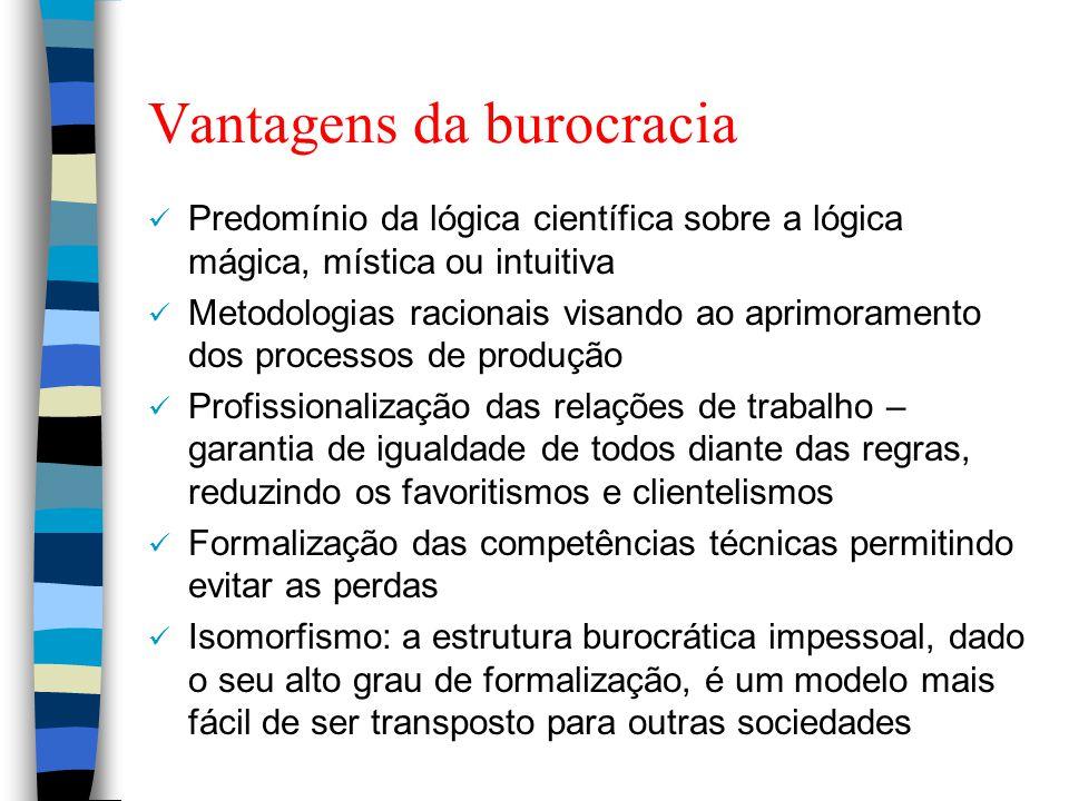 Vantagens da burocracia Predomínio da lógica científica sobre a lógica mágica, mística ou intuitiva Metodologias racionais visando ao aprimoramento do