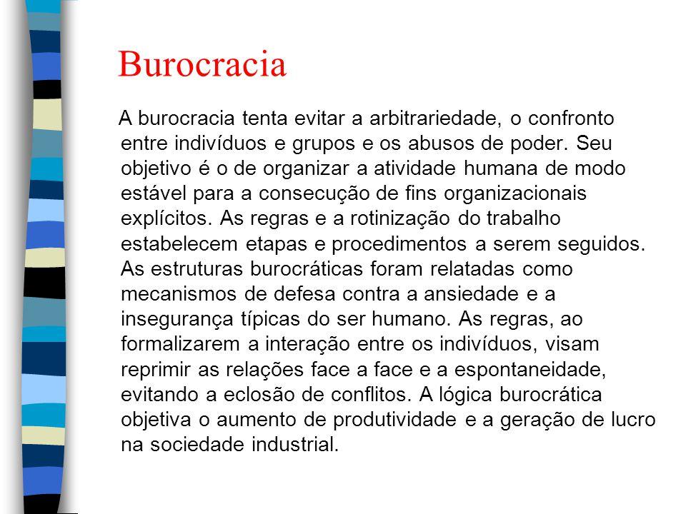 Burocracia A burocracia tenta evitar a arbitrariedade, o confronto entre indivíduos e grupos e os abusos de poder. Seu objetivo é o de organizar a ati
