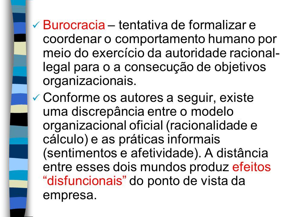 Burocracia – tentativa de formalizar e coordenar o comportamento humano por meio do exercício da autoridade racional- legal para o a consecução de obj