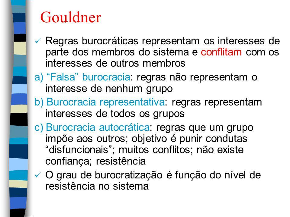 """Gouldner Regras burocráticas representam os interesses de parte dos membros do sistema e conflitam com os interesses de outros membros a) """"Falsa"""" buro"""