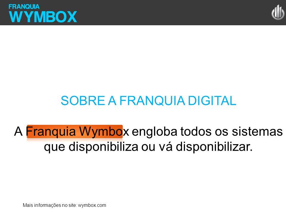 SOBRE A FRANQUIA DIGITAL A Franquia Wymbox engloba todos os sistemas que disponibiliza ou vá disponibilizar. Mais informações no site: wymbox.com