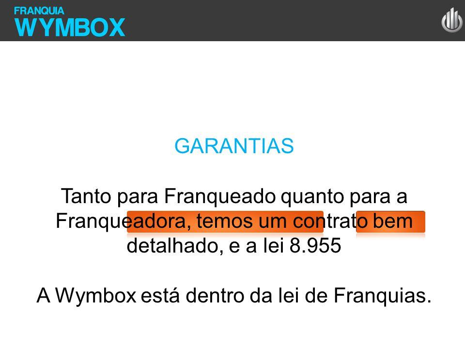 GARANTIAS Tanto para Franqueado quanto para a Franqueadora, temos um contrato bem detalhado, e a lei 8.955 A Wymbox está dentro da lei de Franquias.