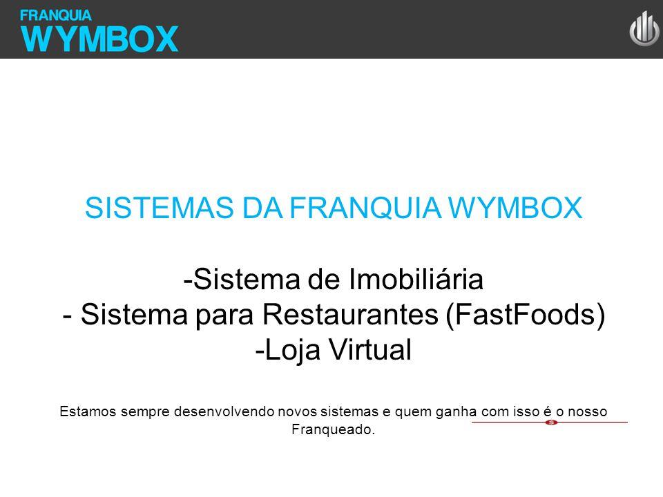 SISTEMAS DA FRANQUIA WYMBOX -Sistema de Imobiliária - Sistema para Restaurantes (FastFoods) -Loja Virtual Estamos sempre desenvolvendo novos sistemas