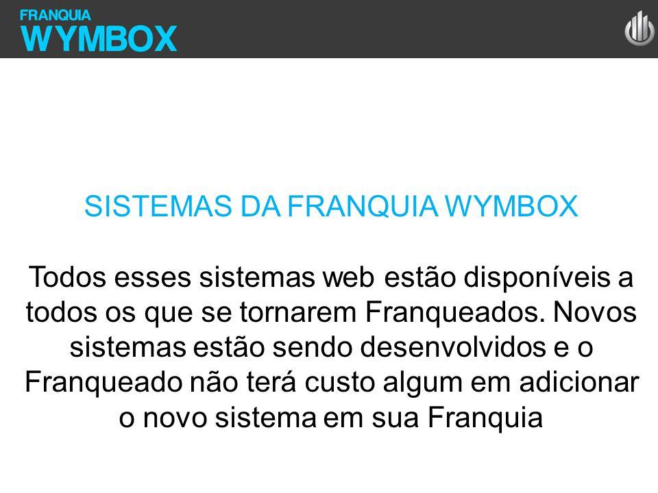 SISTEMAS DA FRANQUIA WYMBOX Todos esses sistemas web estão disponíveis a todos os que se tornarem Franqueados. Novos sistemas estão sendo desenvolvido
