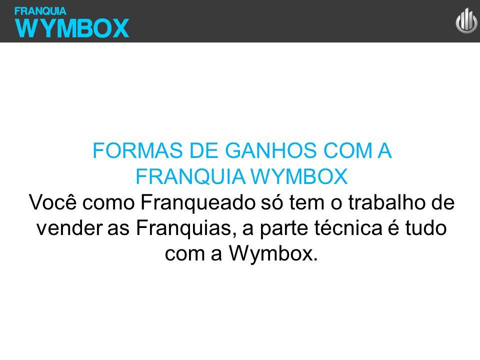 FORMAS DE GANHOS COM A FRANQUIA WYMBOX Você como Franqueado só tem o trabalho de vender as Franquias, a parte técnica é tudo com a Wymbox.
