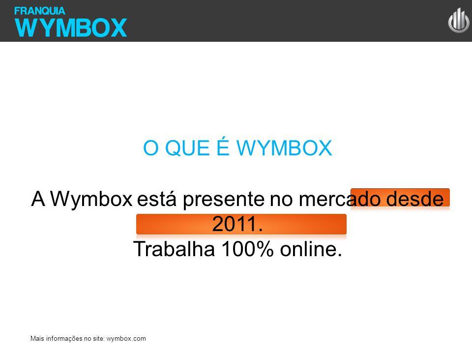 O QUE É WYMBOX A Wymbox está presente no mercado desde 2011. Trabalha 100% online. Mais informações no site: wymbox.com