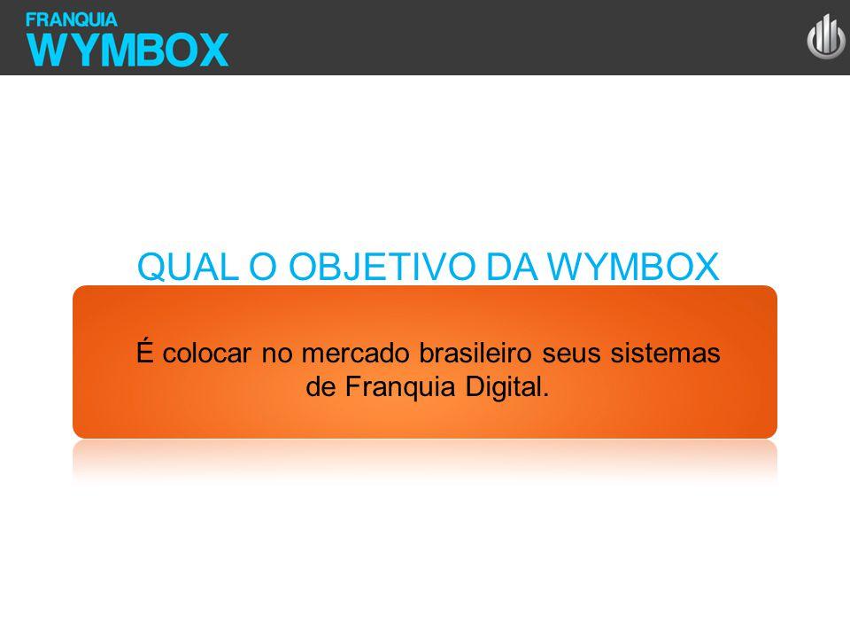 QUAL O OBJETIVO DA WYMBOX É colocar no mercado brasileiro seus sistemas de Franquia Digital.