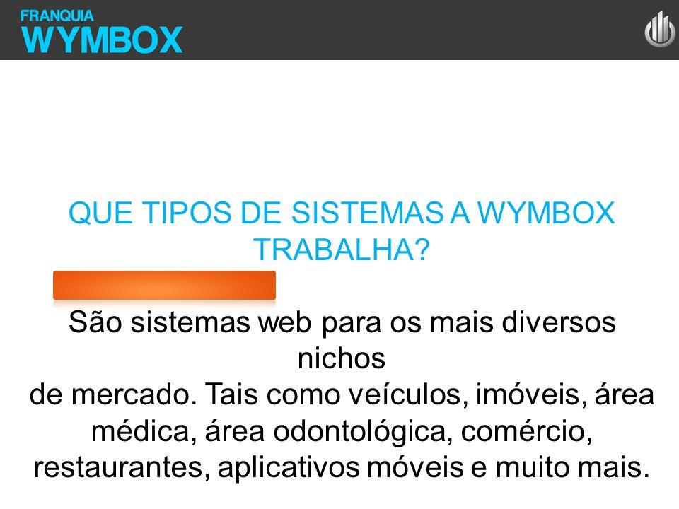 QUE TIPOS DE SISTEMAS A WYMBOX TRABALHA? São sistemas web para os mais diversos nichos de mercado. Tais como veículos, imóveis, área médica, área odon