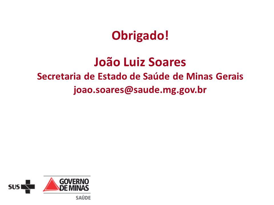 Obrigado! João Luiz Soares Secretaria de Estado de Saúde de Minas Gerais joao.soares@saude.mg.gov.br