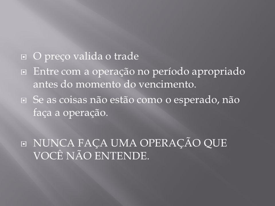  O preço valida o trade  Entre com a operação no período apropriado antes do momento do vencimento.