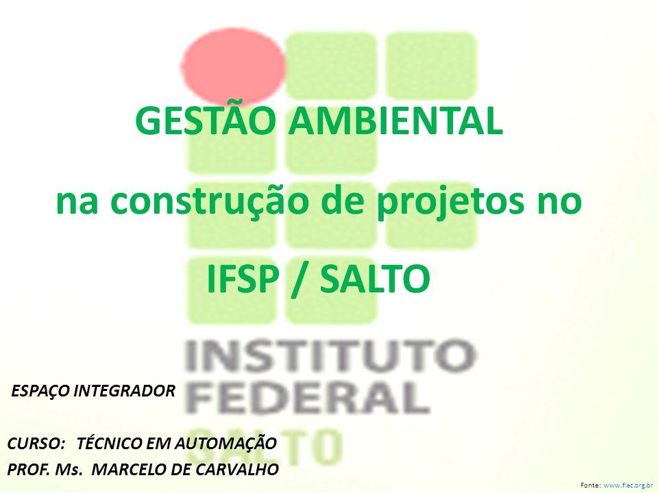 GESTÃO AMBIENTAL na construção de projetos no IFSP / SALTO ESPAÇO INTEGRADOR CURSO: TÉCNICO EM AUTOMAÇÃO PROF.