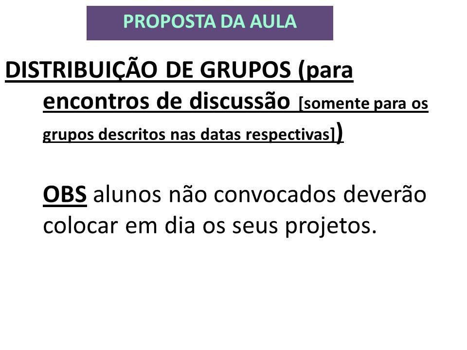 DISTRIBUIÇÃO DE GRUPOS (para encontros de discussão [somente para os grupos descritos nas datas respectivas] ) OBS alunos não convocados deverão colocar em dia os seus projetos.