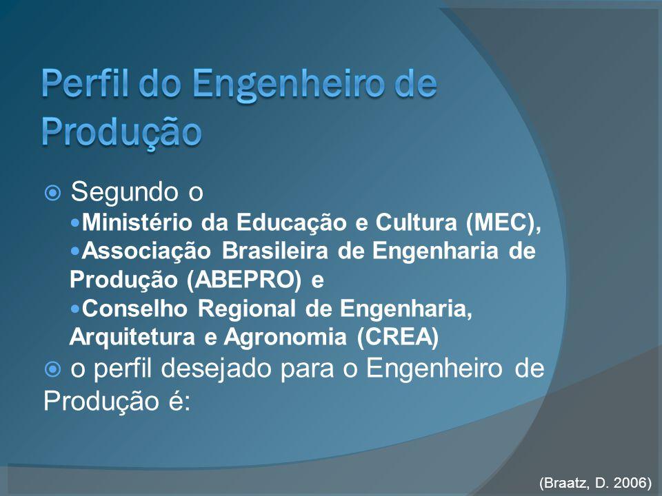  Segundo o Ministério da Educação e Cultura (MEC), Associação Brasileira de Engenharia de Produção (ABEPRO) e Conselho Regional de Engenharia, Arquitetura e Agronomia (CREA)  o perfil desejado para o Engenheiro de Produção é: (Braatz, D.