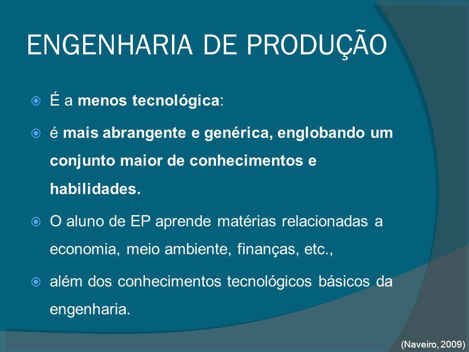ENGENHARIA DE PRODUÇÃO  É a menos tecnológica:  é mais abrangente e genérica, englobando um conjunto maior de conhecimentos e habilidades.