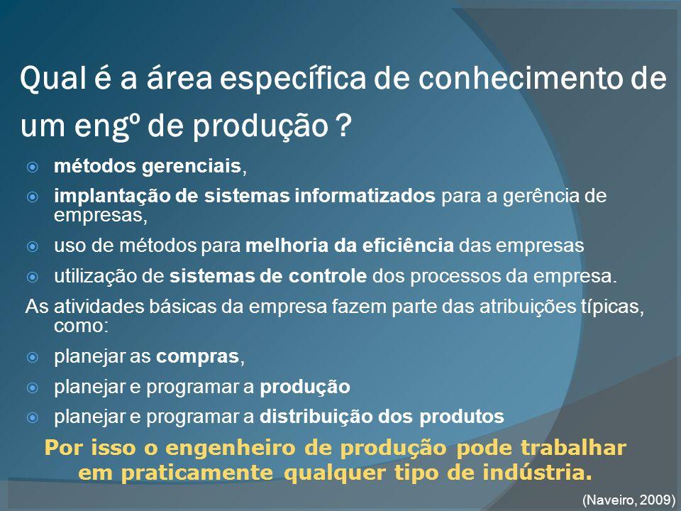 Qual é a área específica de conhecimento de um engº de produção .