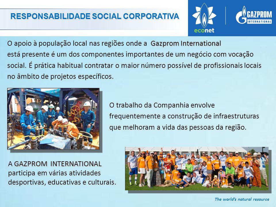 The world's natural resource O trabalho da Companhia envolve frequentemente a construção de infraestruturas que melhoram a vida das pessoas da região.